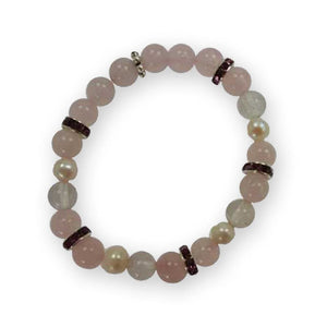 Rose Quartz With Pearls Bracelet - The Moonlight Shop