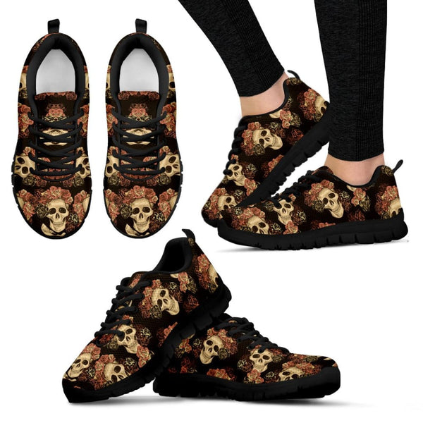 Skull & Roses Womens Sneakers - The Moonlight Shop