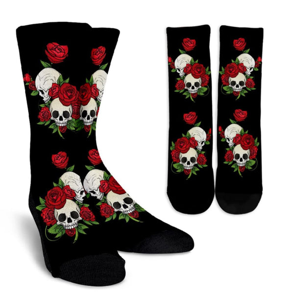 Skulls and Roses Black Crew Socks - The Moonlight Shop