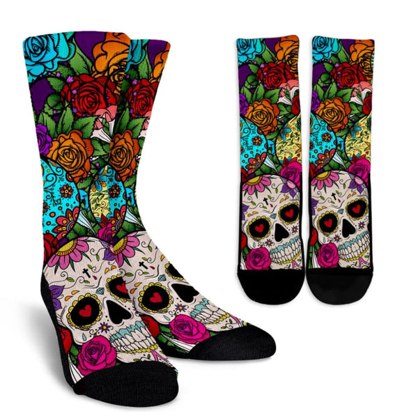 Sugar Skull Crew Socks - The Moonlight Shop