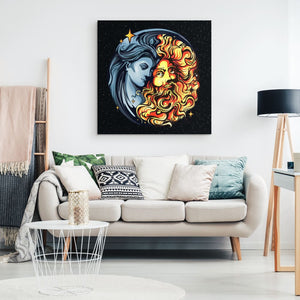 Sun God And Moon Goddess Canvas Wall Art - The Moonlight Shop