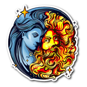 Sun God And Moon Goddess Sticker - The Moonlight Shop