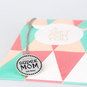 Super Mom (Customize Your Name) Engraved Necklace - The Moonlight Shop