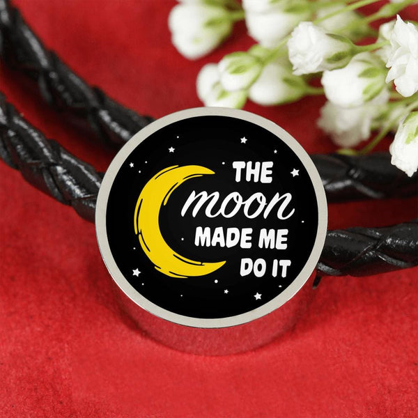 The Moon Made Me Do It Charm w. Leather Bracelet - The Moonlight Shop