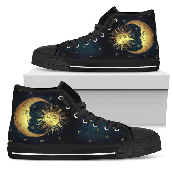 The Sun God And Moon Goddess Womens High Top Shoes - The Moonlight Shop