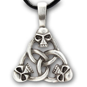 Triangle Of Divinity Triquetra With Skull Necklace - The Moonlight Shop