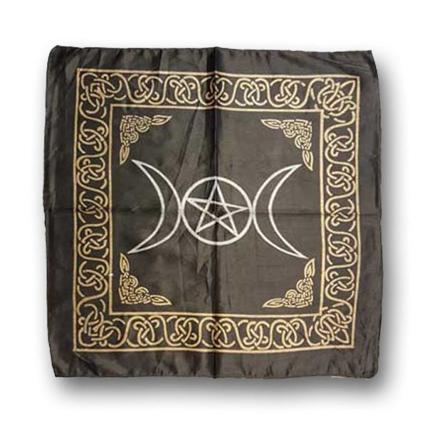 Triple Moon Energy Of The Goddess Altar Cloth (Black) - The Moonlight Shop