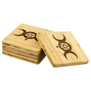 Triple Moon Goddess Bamboo Coaster - The Moonlight Shop