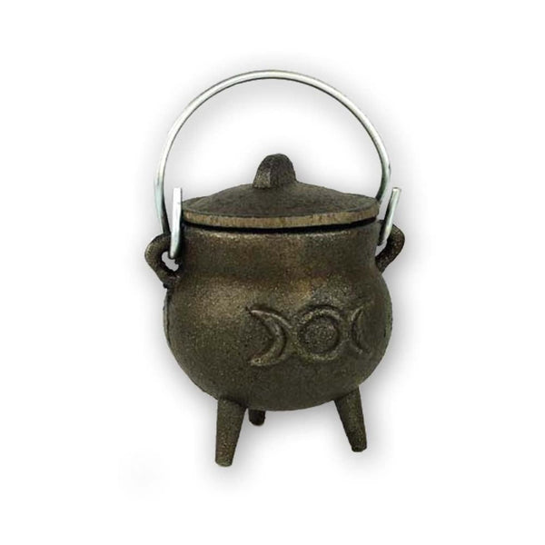 Triple Moon Goddess Cast Iron Cauldron - The Moonlight Shop
