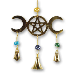 Triple Moon Goddess Wind Chime With Brass Bells - The Moonlight Shop