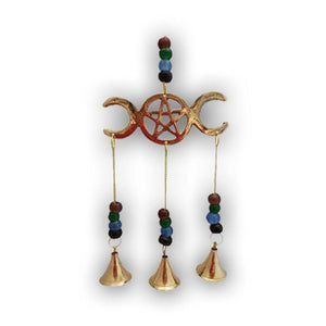 Triple Moon Wind Chime With Beads - The Moonlight Shop