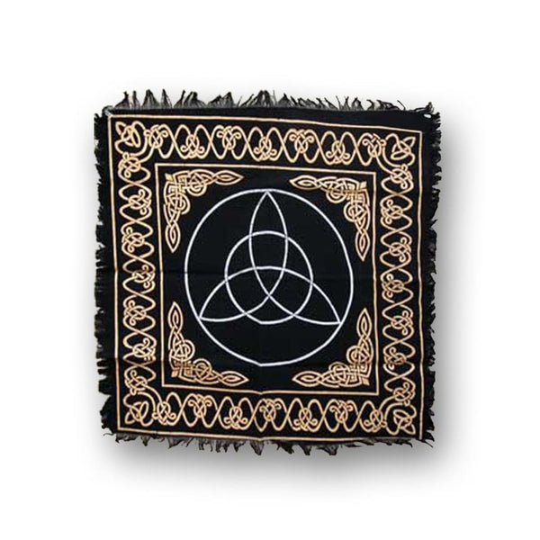 Triquetra Altar Cloth (Black Gold Silver) - The Moonlight Shop