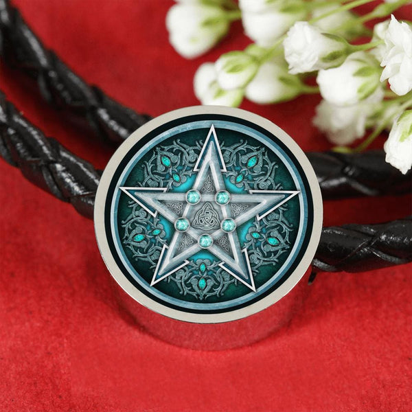 Water Pentacle Charm w. Leather Bracelet - The Moonlight Shop