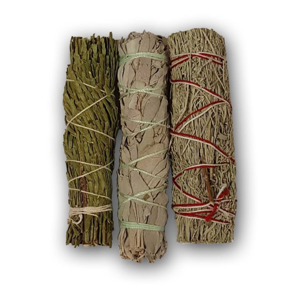 White Sage, Blue Sage, and Cedar Smudge Sticks