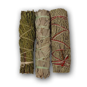 White Sage Blue Sage And Cedar Smudge Sticks - The Moonlight Shop