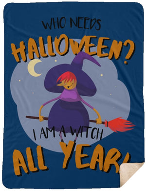 Witch All Year Premium Sherpa Blanket - The Moonlight Shop