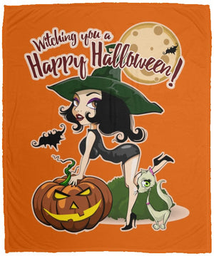 Witching You A Happy Halloween Fleece Blanket - The Moonlight Shop