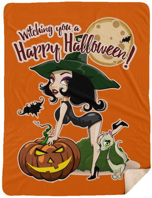 Witching You A Happy Halloween Premium Sherpa Blanket - The Moonlight Shop