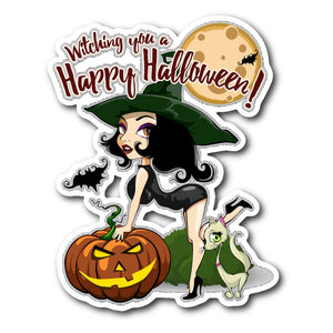 Witching You A Happy Halloween Sticker - The Moonlight Shop