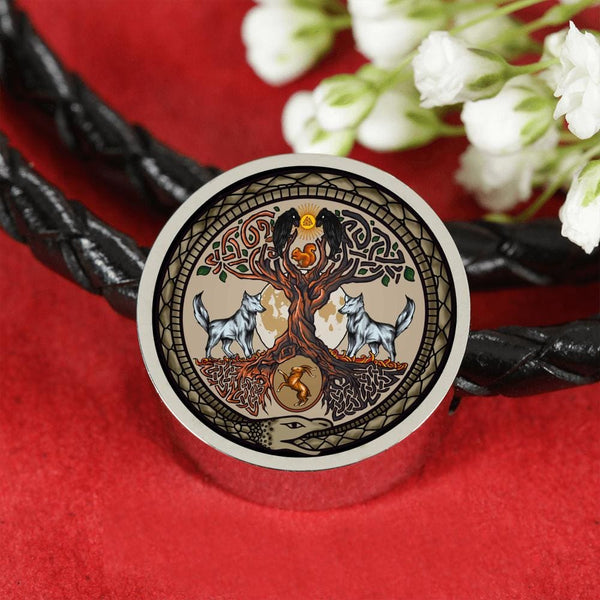 Yggdrasil Charm w. Leather Bracelet - The Moonlight Shop