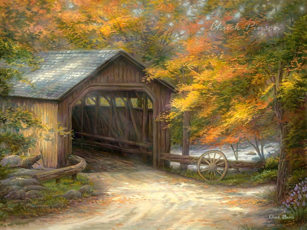 Covered Bridge Painting  Folk Art