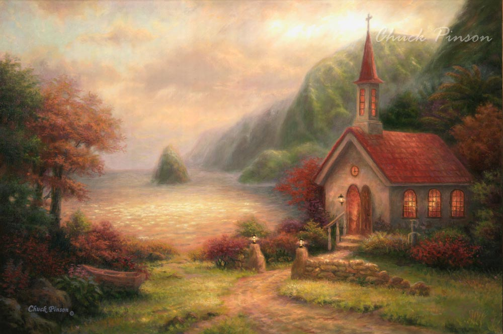 Molokai Church Saint Damien Painting Hawaii
