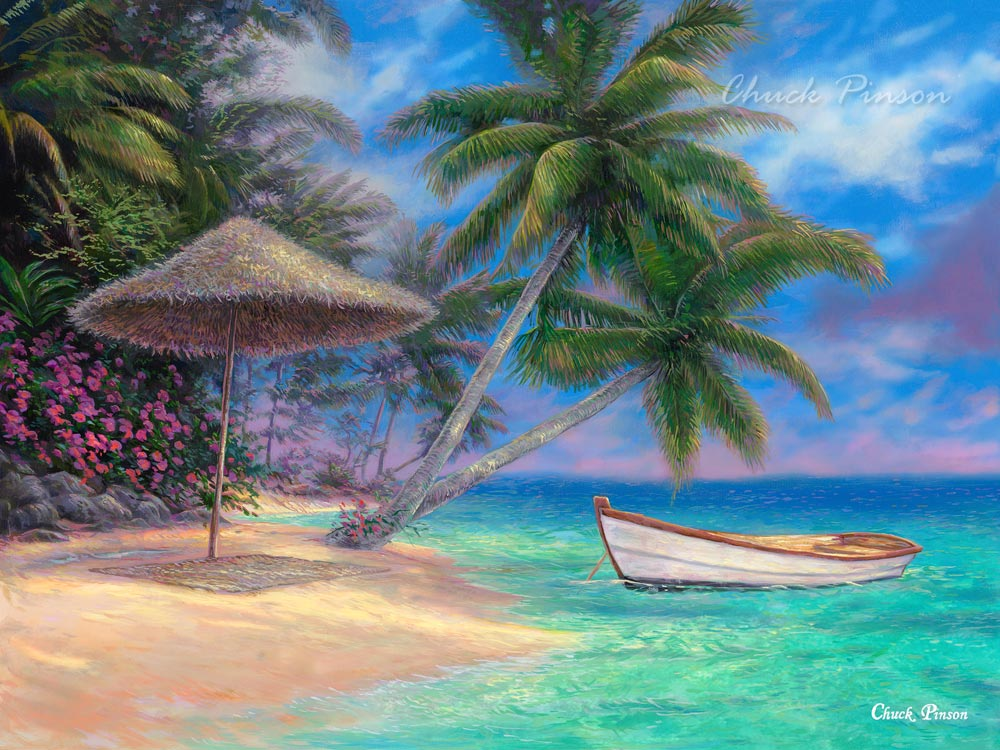 Tropical Art Caribbean Beach