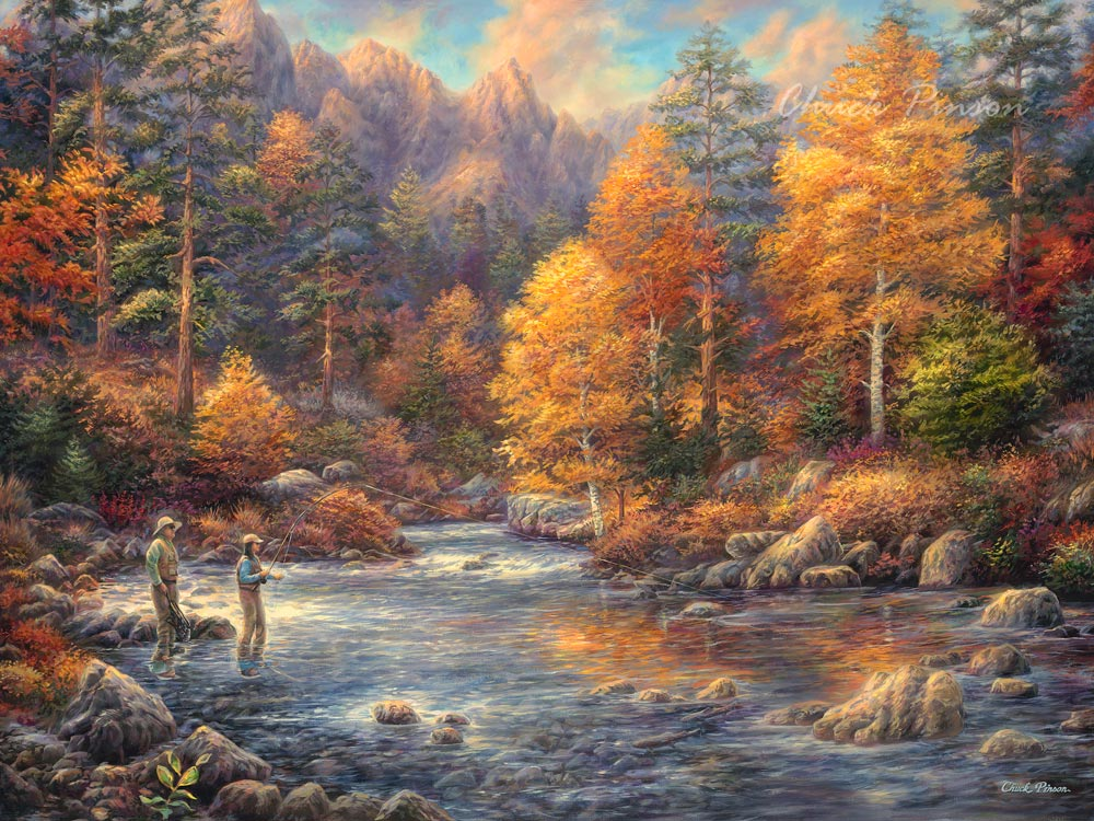Fly Fisherman Painting Hobby Father Daughter