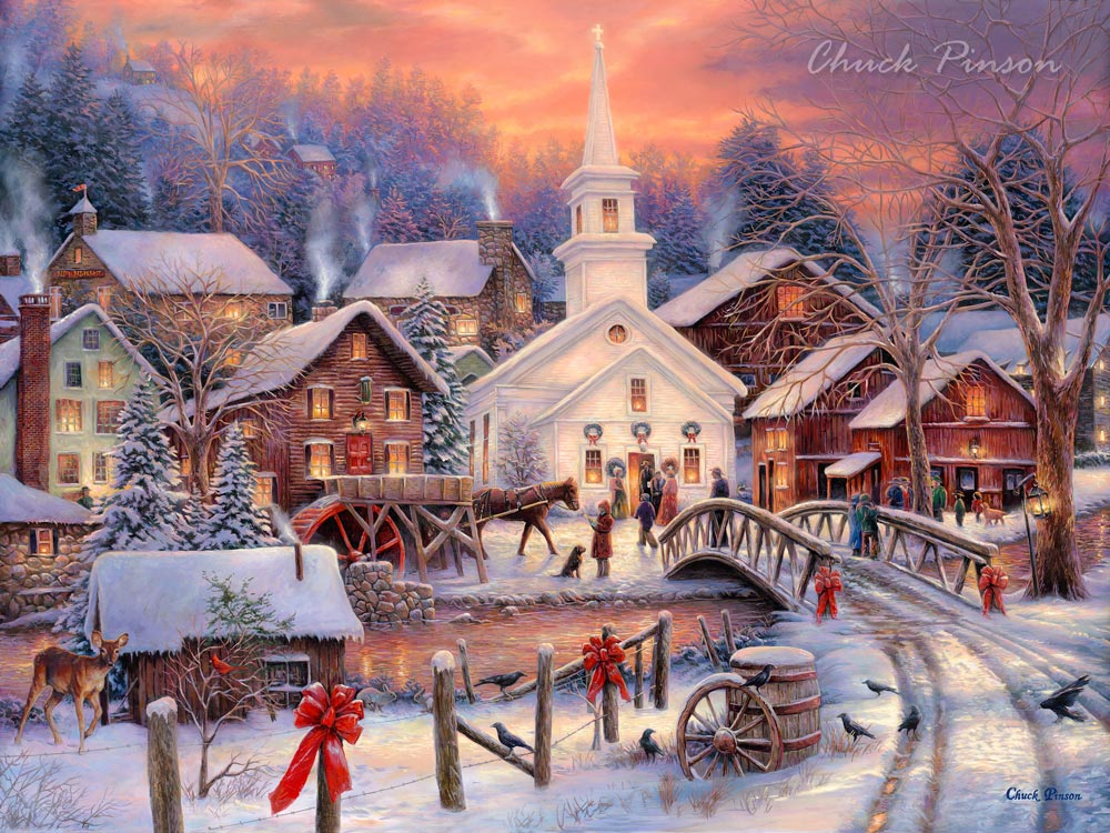 Christmas Village Painting