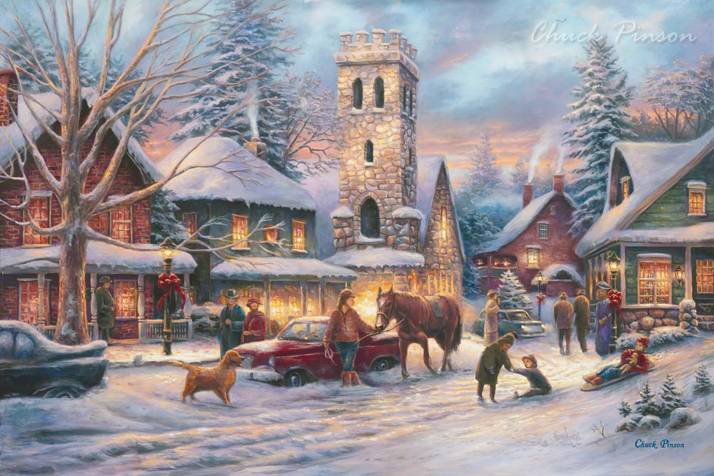 Winter Town Painting Horse