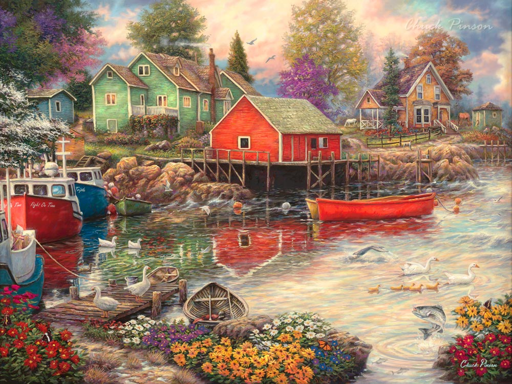 Shaker cottage fishing village painting