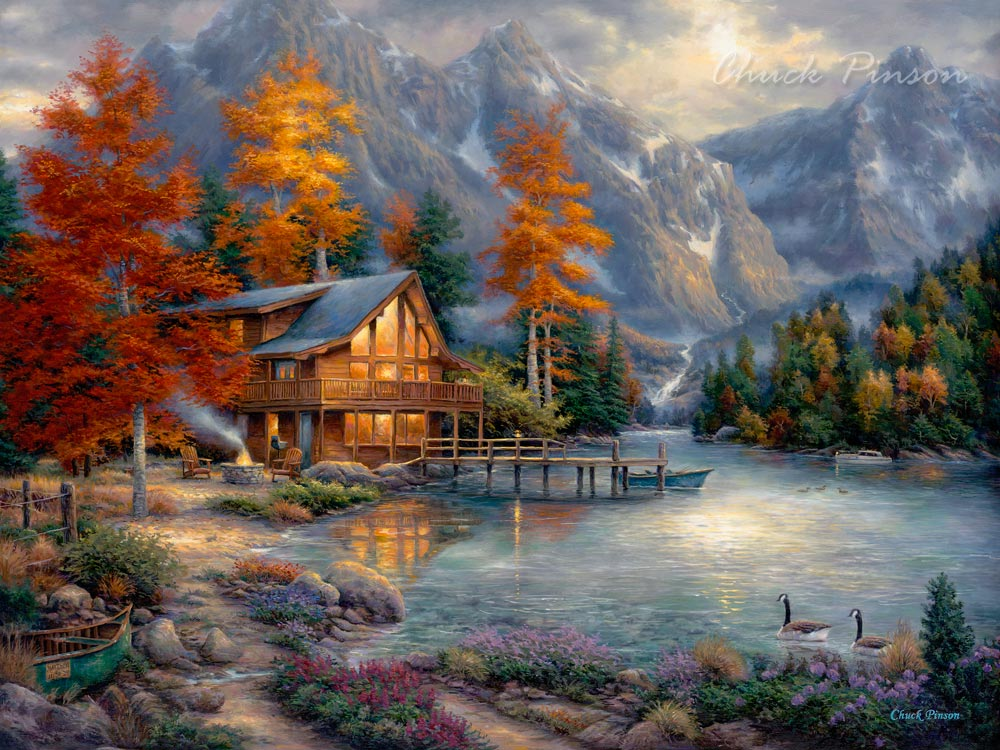 beautiful cabin art meditation painting
