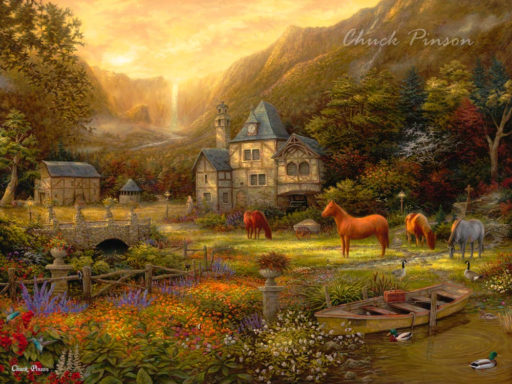 Mythical Dreamscape Landscape Horses Art