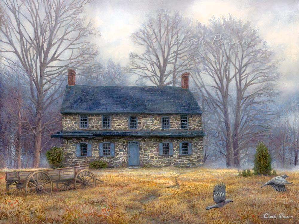 Stone House Painting heirloom antique