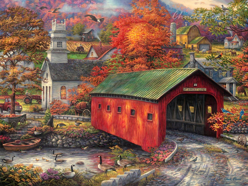 Covered Bridge Painting Canvas