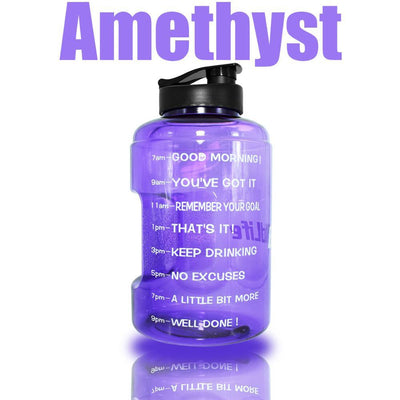 QuiFit™ </br> Time Stamped Water Bottle 100003293 Thumble 2500ML 2.5L 73oz Amethyst Bottle