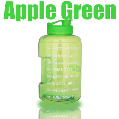 QuiFit™ </br> Time Stamped Water Bottle 100003293 Thumble 2500ML 2.5L 73oz Green Bottle