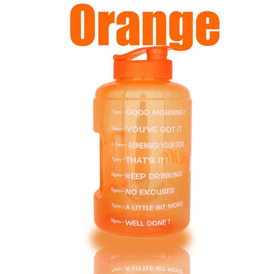 QuiFit™ </br> Time Stamped Water Bottle 100003293 Thumble 2500ML 2.5L 73oz Orange Bottle