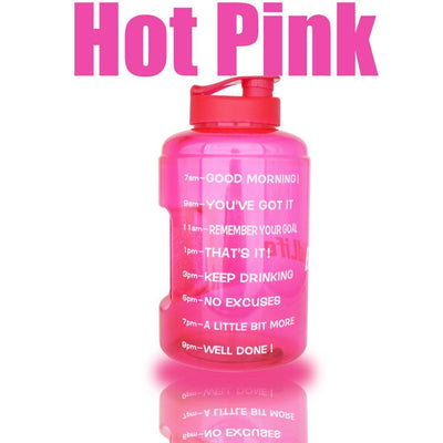 QuiFit™ </br> Time Stamped Water Bottle 100003293 Thumble 2500ML 2.5L 73oz Pink Bottle