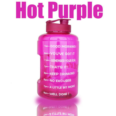 QuiFit™ </br> Time Stamped Water Bottle 100003293 Thumble 2500ML 2.5L 73oz Purple Bottle