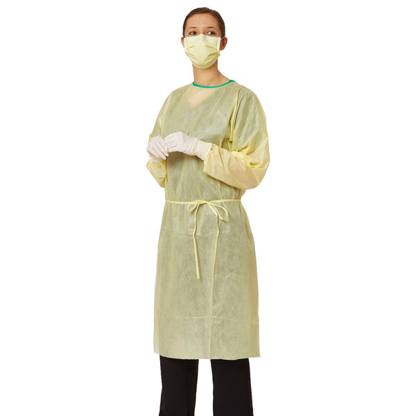 Isolation gown yellow full elastic cuffs latex free non woven