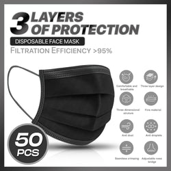 Disposable Black 3 layer Masks | 50 count |