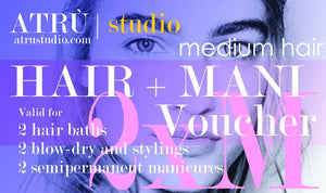 Voucher for 2 Hairdressing and 2 Manicures, Medium Hair, at ATRU STUDIO
