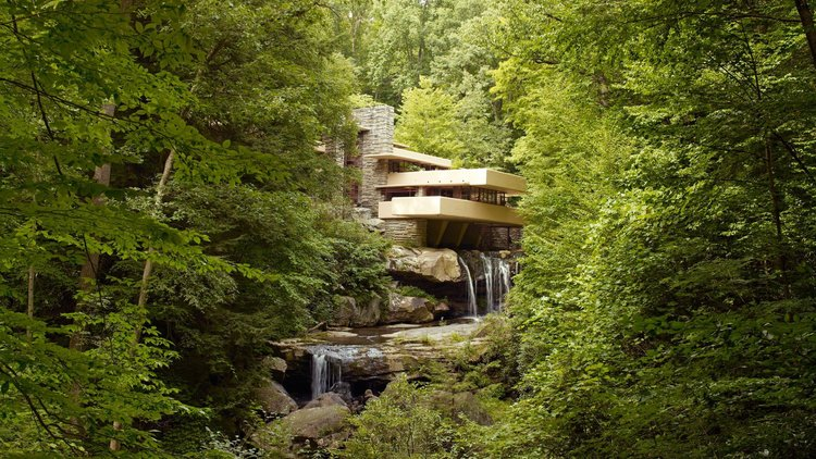 "A ""Waterhouse"" designed by Frank llyod wright, Integrating architecture into natural water falls"