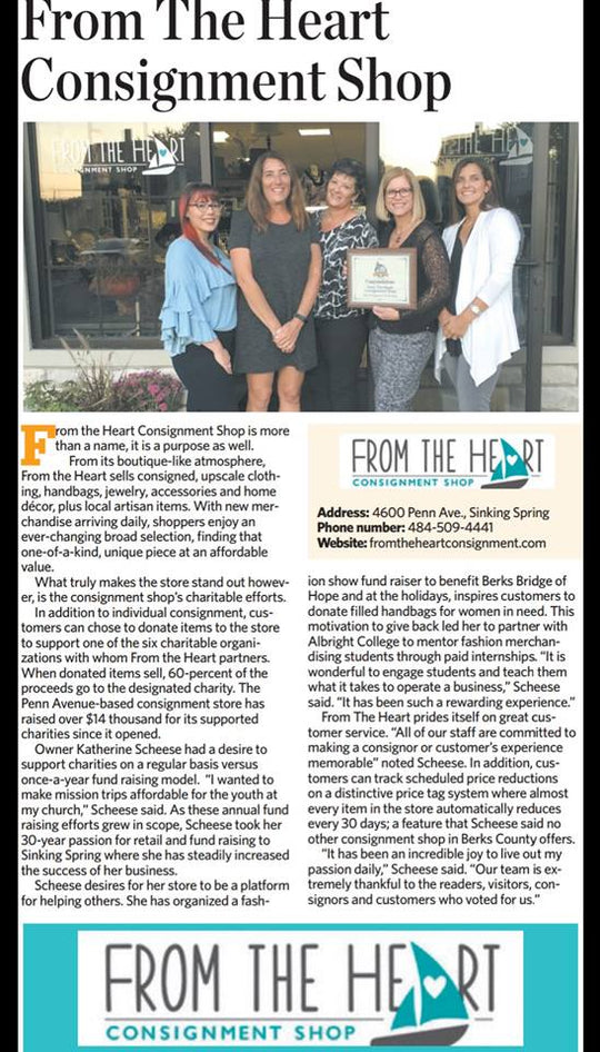 From The Heart Named 2017 Best Consignment Shop by Reading Eagle Readers Choice