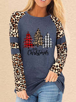 Load image into Gallery viewer, Ladies Merry Christmas Wood Leopard Print Top