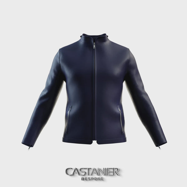 London Tab Nappa Leather Jacket - Midnight Blue