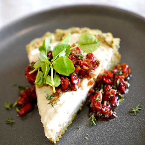 CREAM CHEEZE TART WITH GOJI RELISH