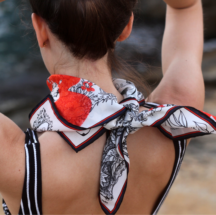 Adonis & Astarte, Afqa Lebanon with Red Flowers Silk Scarf - Dikkeni