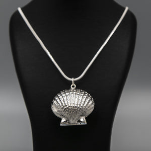 Silver Clam shell photo locket on thick silver italian chain displayed on black bust